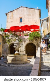 St-Paul-de-Vence, France - August 04, 2016: alley in St-Paul-de-Vence with unidentified people. St-Paul-de-Vence is one of the oldest medieval towns on the French Riviera