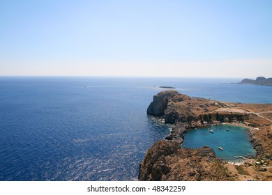St.Paul's Bay, Lindos in Rhodes island, Greece