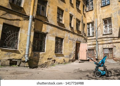 St.Peterburg, Russia - May 15, 2019 - a yard in the city centre