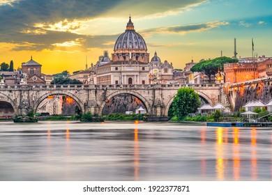 St.Peter's basilica and Ponte Vittorio Emanuele II bridge in Vatican, Rome.Italy