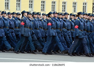 ST.PETERSBURG - APRIL 15: Parade rehearsal before celebration of 66th Anniversary of Victory Day on April 15, 2011 on Palace Square in St.Petersburg, Russia