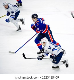 St.Petersburg - Jan 22, 2019: Barabanov Alexander 94. SKA (Russia) - Dinamo Minsk (Belarus). Continental Hockey League (KHL). Ice palace arena.