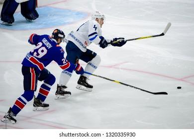 St.Petersburg - Jan 22, 2019: Lisovets Evgeny 14. SKA (Russia) - Dinamo Minsk (Belarus). Continental Hockey League (KHL). Ice palace arena.