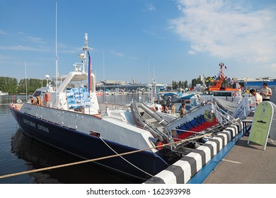ST.-PETERSBURG - JUL 05: Coast guard cutter on International maritime defence show (IMDS-2013) on Jul 05, 2013 at Lenexpo exhibition complex in St.-Petersburg, Russia
