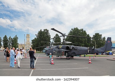 ST.-PETERSBURG - JUL 05: The Kamov Ka-52 russian attack helicopter on International maritime defence show (IMDS-2013) on Jul 05, 2013 at Lenexpo exhibition complex in St.-Petersburg, Russia