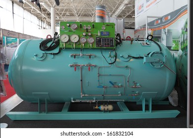 ST.-PETERSBURG - JUL 05: The Pressure chamber for marine diving complexes on International maritime defence show (IMDS-2013) on Jul 05, 2013 at Lenexpo exhibition complex in St.-Petersburg, Russia
