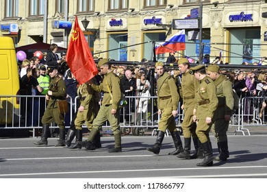 ST.PETERSBURG - MAY 9: Victory Day. The parade of veterans in honor of 67 anniversary of the victory on Nevsky Prospect, May 9, 2012 in St.Petersburg, Russia.