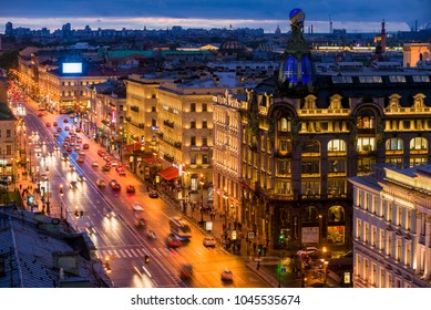 St.Petersburg/ Russia - 05 21 2015: Evening view to Nevsky prospekt. Singer House (also known as VKontakte headoffice)