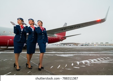 St.Petersburg, Russia - 11 nov. 2016: Beautiful stewardesses of Rossiya airlines