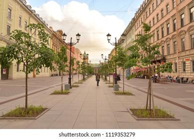 ST.PETERSBURG, RUSSIA - 12 JUNE 2018: Malaya Konyushennaya Street- a street in the Central district of St. Petersburg. It passes from the Swedish lane to Nevsky Prospekt.