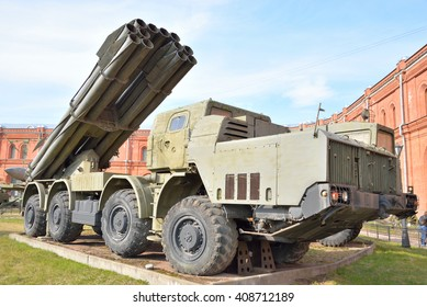 ST.PETERSBURG, RUSSIA - 17 APRIL 2016: Fighting vehicle 9A52 300-mm multiple rocket launchers Smerch 9K58 in Military Artillery Museum. Adopted in 1987.