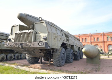 ST.PETERSBURG, RUSSIA - 17 APRIL 2016: Launcher 9P120 with a rocket 9M76 missile complex 9K76 Temp-S in Artillery Museum. NATO classification - Scaleboard. Adopted in 1968.
