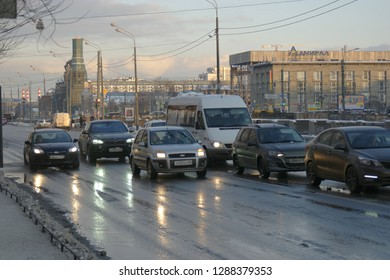 St.Petersburg Russia, 24 Feb 2016: Traffic cars covered with snow after hard snowfall
