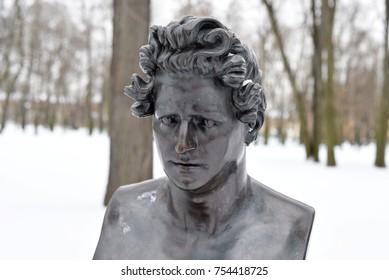 ST.PETERSBURG, RUSSIA - 24 FEBRUARY 2017: The monument of Karl Pavlovich Bryullov in the Mikhailovsky garden in Saint Petersburg. Russian artist, painter, muralist, watercolorist.
