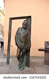 ST.PETERSBURG, RUSSIA - 27 AUGUST 2018: Monument to Sergey Donatovich Dovlatov in Saint Petersburg. Soviet and American novelist and journalist