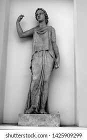 ST.PETERSBURG, RUSSIA - 4 JUNE 2019: The statue of the Psyche. Fragment Elagin Palace in St.Petersburg, Russia. Black and white. In ancient Greek mythology, the personification of the soul.