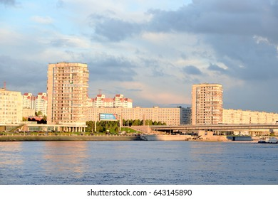 ST.PETERSBURG, RUSSIA - 4 SEPTEMBER 2016: Embankment of Neva river on the outskirts of St. Petersburg at sunset.