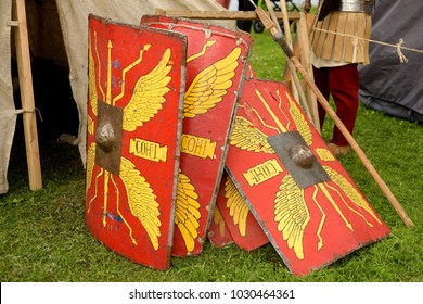 ST.PETERSBURG, RUSSIA - 8 JULY 2017: Reconstruction of the shields of Roman legionaries at the historic festival in Saint Petersburg.
