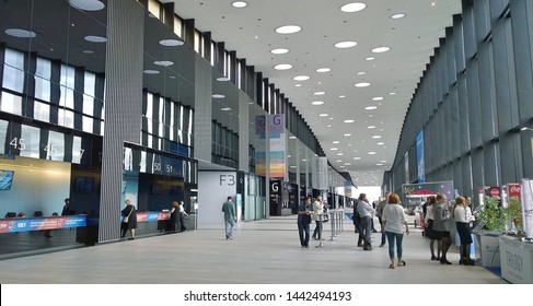 ST.PETERSBURG, RUSSIA - APRIL 18, 2019: EXPOFORUM is a new convention and exhibition centre. It is the most cutting-edge venue of its kind anywhere in Russia or Europe for holding business. People.