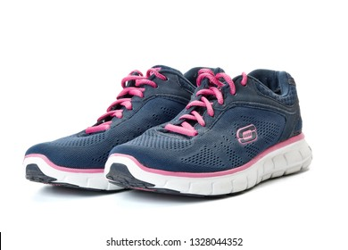 St.Petersburg, Russia - April 2016.  New modern sport running shoes, sneakers or trainer on white background. Skechers