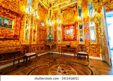 ST.PETERSBURG, RUSSIA - APRIL 30: Interior of Catherine Palace, Amber room, April 30, 2019 in St.Petersburg, Russia. The former imperial palace. Building is laid in 1717 on orders of Catherine I