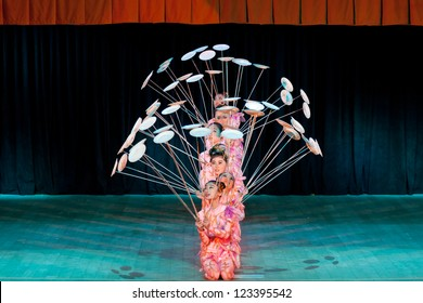 ST.PETERSBURG, RUSSIA - DEC. 31: National Acrobatic Troupe of China, Hebei Province, performing at Coliseum Concert Hall St. Petersburg, Russia on December 31, 2012
