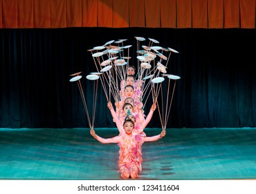 ST.PETERSBURG, RUSSIA - DEC 31: National Acrobatic Troupe of China, Hebei Province, performing at Coliseum Concert Hall St. Petersburg, Russia on December 31, 2012