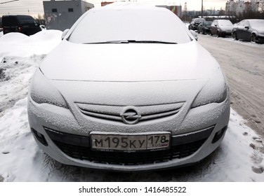 St-Petersburg / Russia - January 15 2019: Opel Astra stand on the Parking