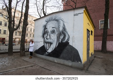 St.Petersburg, Russia - January 2, 2016: Black and white portrait of Albert Einstein. Graffiti on the wall transformer station in the heart of the metropolis