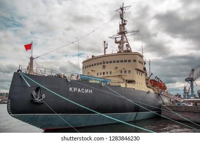 ST.PETERSBURG, RUSSIA - Jule 2016: Museum Icebreaker Krasin. Krasin is an Arctic icebreaker of the Russian and Soviet fleets, since the 1980s it was a ship-museum built in 1916-1917.
