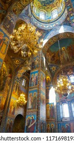 St.Petersburg, Russia, July 10, 2018: Fragment of interior of The Church of the Savior on Spilled Blood (Cathedral of the Resurrection of Christ) The church contains over 7500 square meters of mosaics