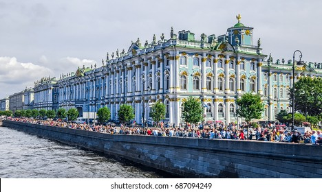 St.Petersburg, Russia  - July 30, 2017:   Winter Palace. The State Hermitage Museum.