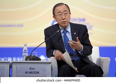 ST-PETERSBURG, RUSSIA - JUN 16, 2016: St. Petersburg International Economic Forum SPIEF-2016. Ban Ki-moon is a South Korean statesman and politician who is the Secretary-General of the United Nations