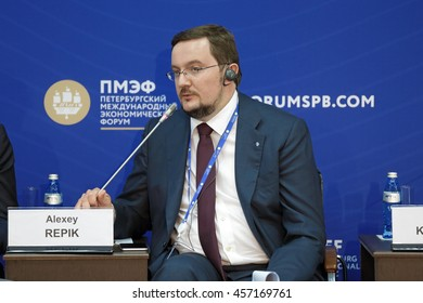 ST-PETERSBURG, RUSSIA- JUN 16, 2016: St. Petersburg International Economic Forum SPIEF-16. Alexey Repik, President, All-Russia Public Organization Delovaya Rossiya (Business Russia); Chairman, R Pharm
