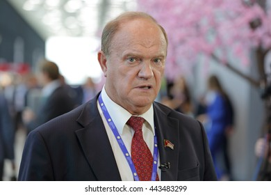 ST-PETERSBURG, RUSSIA - JUN 17, 2016: St. Petersburg International Economic Forum SPIEF-16. Gennady Zyuganov - Deputy of the State Duma, First Secretary of the Central Committee of the Communist Party