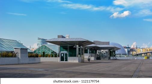 ST.PETERSBURG, RUSSIA - Jun 18, 2018: Modern building with steel and glass and geometric design of newly opened Novokrestovskaya Station of the Petersburg Underground's Nevsko-Vasileostrovskaya Line.