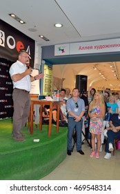 """ST.PETERSBURG, RUSSIA - JUNE 23, 2016:  Dr. Alexander Myasnikov at the meeting with readers of the new book """"Ghosts. When there is no health, and doctors do not find anything in the store Bookvoed"""