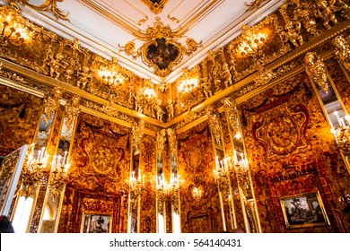 ST.PETERSBURG, RUSSIA - JUNE 24: Interior of Catherine Palace, Amber room, in August 2, 2013 in St.Petersburg, Russia. The former imperial palace. Building is laid in 1717