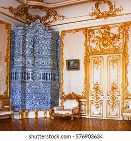 ST.PETERSBURG, RUSSIA - JUNE 24: Interior of Catherine Palace,  in June 24, 2013 in St.Petersburg, Russia. The former imperial palace. Building is laid in 1717 on orders of Catherine I. Now a museum