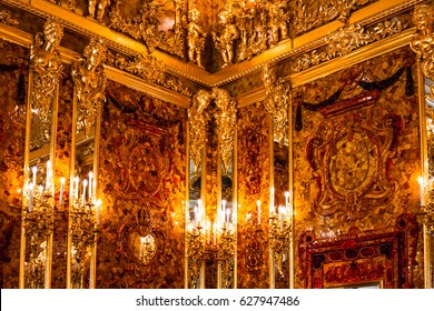 ST.PETERSBURG, RUSSIA - JUNE 24: Interior of Catherine Palace, Amber room, in August 2, 2013 in St.Petersburg, Russia. The former imperial palace. Building is laid in 1717 on orders of Catherine I.