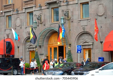 ST.PETERSBURG, RUSSIA - JUNY 23, 2017: The main entrance of the hotel Astoria during the Confederations Cup in Saint-Petersburg