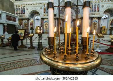 ST.PETERSBURG, RUSSIA - March 03, 2016 : The interior of Naval cathedral of Saint Nicholas in Kronstadt.