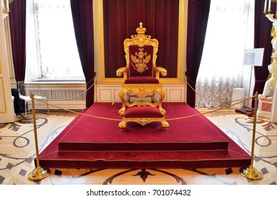 ST.PETERSBURG, RUSSIA - MARCH 03, 2017: The Emperor's throne in the Gatchina Palace