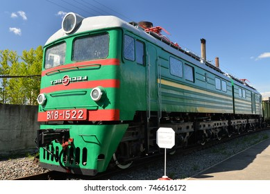 ST.PETERSBURG, RUSSIA - MAY 11, 2016:  Cargo electric locomotive VL 8-1522 in the railway Museum in the former Warsaw station in Petersburg