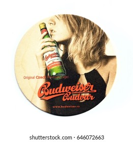 ST-PETERSBURG, RUSSIA - MAY 18, 2017 - Coaster (beer mat) advertising beer Budweiser
