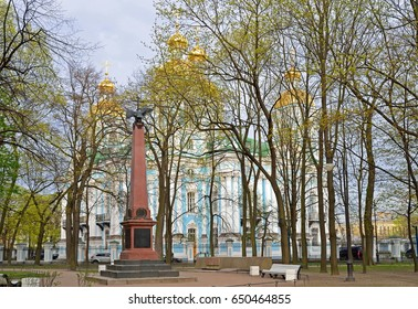 ST.PETERSBURG, RUSSIA - MAY 18, 2017:  A monument dedicated to the sailors of the battleship Alexander 3 and Nicholas-Epiphany naval Cathedral in St. Petersburg.