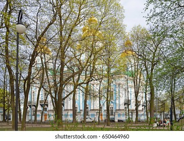 ST.PETERSBURG, RUSSIA - MAY 18, 2017:  The view from the Park on St. Nicholas naval Cathedral in St. Petersburg.