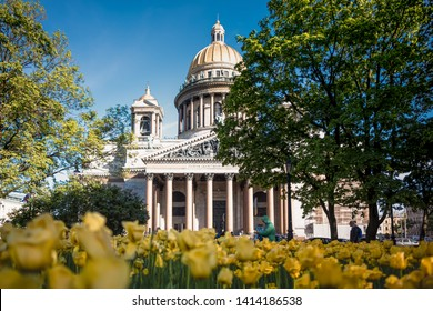 ST.PETERSBURG, RUSSIA, MAY 23, 2019-St Isaac's Cathedral is one of the most famous attractions in St Petersburg - St.Petersburg, Russia