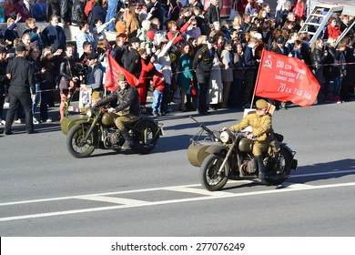 ST.PETERSBURG, RUSSIA: - MAY 9, 2015: Military motorcycle from World War II on Victory parade. The celebration of 70 anniversary of Victory in the Great Patriotic War.