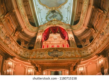 ST.PETERSBURG, RUSSIA-JANUARY 6,2018: Interior of the Theatre, 1860s, in Yusupov palace. The palace is acclaimed as the Encyclopedia of St. Petersburg aristocratic interior.